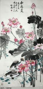 王君永国画作品《花鸟荷花-和为贵》价格800.00元