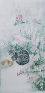 罗虹明国画《陪你去看花》