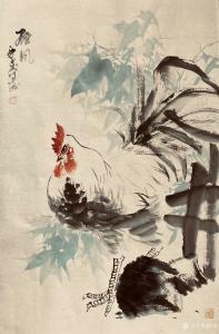 覃莽国画作品《公鸡-雄风》议价