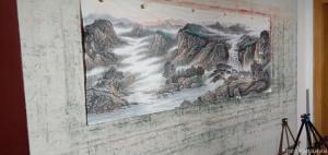 墨轩国画油画国画作品-《国画山水太行朝晖》