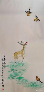 夏沁国画作品-《三春承禄》