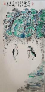 夏沁国画作品-《品竹听雨》