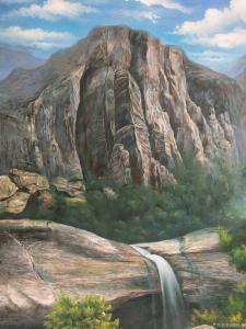 黄联合油画作品-《高山流水》