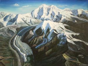 黄联合油画作品-《雪山》