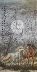 刘建国国画作品-《骏马图-但愿人长久》
