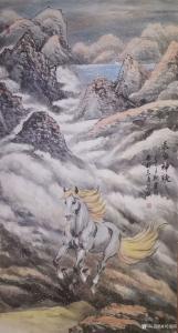 刘建国国画作品-《骏马图-长白神骏》
