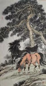 刘建国国画作品-《苍松骏马图》