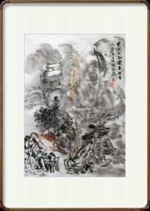 陈培泼国画《云深不知处何处有人家》