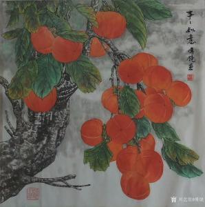 傅饶国画作品-《花鸟-事事如意》
