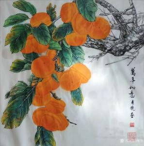 傅饶国画作品-《花鸟-万事如意》