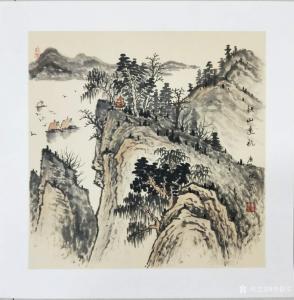 李振军国画作品《仿古山水-秋山远航》价格480.00元