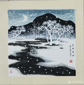 李振军国画作品《雪景-月映祥瑞》价格480.00元