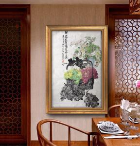 张国超国画作品-《鲜花盛开硕果丰盈》