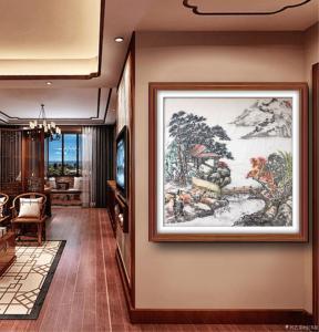 张国超国画作品-《秋山书屋》
