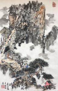 张国超国画作品-《华峰柱天地山河分外娇》
