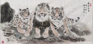 穆振庚国画作品《狮虎豹-威武三君》议价