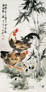 卢士杰国画作品《鸡-平安大吉》价格1200.00元