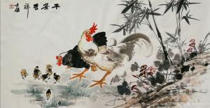卢士杰国画作品《鸡-平安吉祥一家子》价格1200.00元