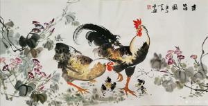 卢士杰国画作品《鸡-吉昌图幸福一家》价格1200.00元