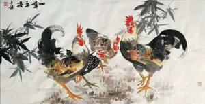 卢士杰国画作品《鸡-四季平安》价格1200.00元