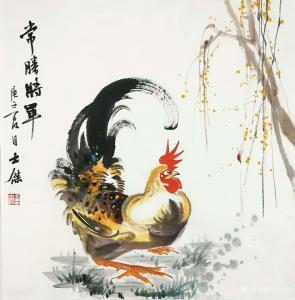 卢士杰国画作品-《公鸡-常胜将军》