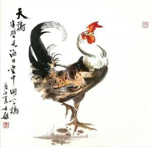 卢士杰国画作品-《天鸡》