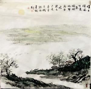 陈秀梅国画作品《山水-晴日暖风生贵气》议价