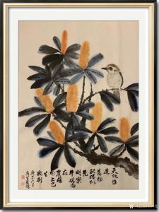 石广生国画《花鸟-天地谁造万物》