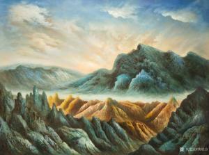 黄联合油画作品-《黄联合油画贺兰山睡佛》