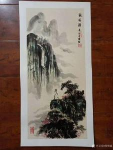 杨增超国画作品《山水人物画-观瀑图》议价