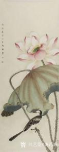 唐再辉国画作品《工笔花鸟-荷花2》议价
