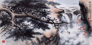 罗树辉国画作品-《山水画-猿戏云水间》