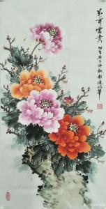 刘建岭国画作品-《花开富贵(牡丹)》