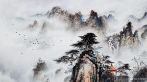 罗树辉国画作品-《山水松-飘渺隐仙迹》