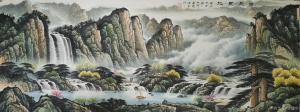 宁建华国画作品《山水画-福聚宝地》价格1200.00元