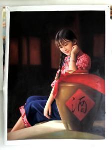 黄联合手工作品-《黄联合油画女儿红》
