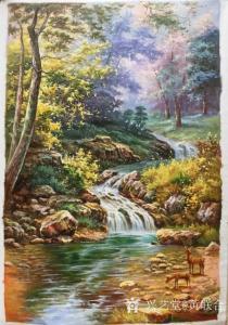 黄联合油画作品-《林中小鹿》