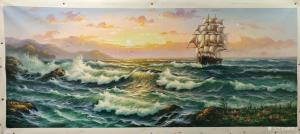 黄联合油画作品-《油画一帆风顺》