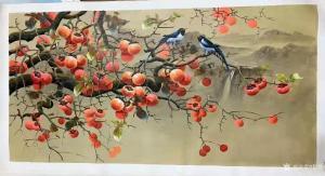黎群油画作品《柿子喜鹊事事如意二》价格1000.00元