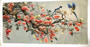 黎群油画作品《柿子喜鹊事事如意三》价格1000.00元