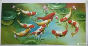 黎群油画作品-《九鱼图(六)横幅》