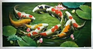 黎群油画作品-《九鱼图(九)横幅》