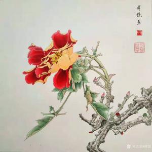 傅饶国画作品《工笔花鸟-牡丹(一)》价格800.00元