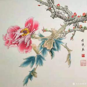 傅饶国画作品《工笔花鸟牡丹(二)》价格800.00元