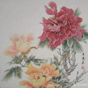 傅饶国画作品《工笔花鸟牡丹(三)》价格800.00元
