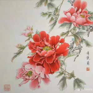 傅饶国画作品-《工笔花鸟牡丹(四)》