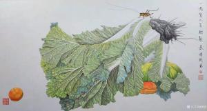 傅饶国画作品-《工笔白菜-百财聚来1》