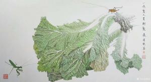 傅饶国画作品-《工笔白菜-百财聚来2》