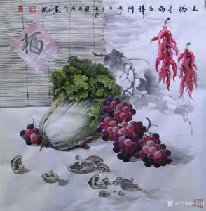 卢俊良国画作品《五福星临吉祥门》价格1000.00元