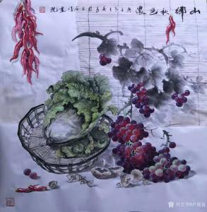 卢俊良国画作品《白菜葡萄-山乡秋色浓》价格1000.00元